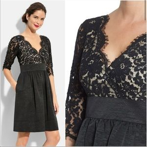 Eliza J black lace & faille fit & flare dress